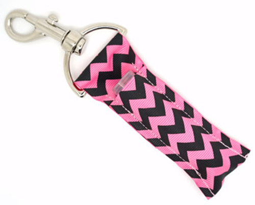 Black and Pink Chevron Lip Balm Holder  Each Lip Balm / Chapstick Holder is HANDMADE with a high-quality material! Our unique design's and clasp offer both style and functionality. The hook is also on a swivel head so the lip balm always falls back down and never gets stuck upside down, this is where most lip balm holders loose your lip balm or chapstick! The holder is designed to snuggly fit nice and cozy any standard chapstick or lip balm. This ensures that the lip balm / chapstick won't fall out when needed most.
