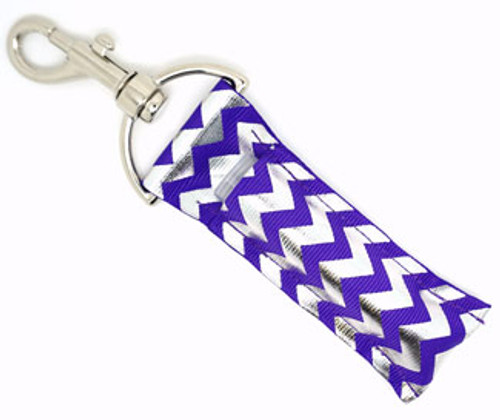 Purple and Silver Foil Chevron Lip Balm Holder  Each Lip Balm / Chapstick Holder is HANDMADE with a high-quality material! Our unique design's and clasp offer both style and functionality. The hook is also on a swivel head so the lip balm always falls back down and never gets stuck upside down, this is where most lip balm holders loose your lip balm or chapstick! The holder is designed to snuggly fit any standard chapstick or lip balm. This ensures that the lip balm / chapstick won't fall out when needed most.