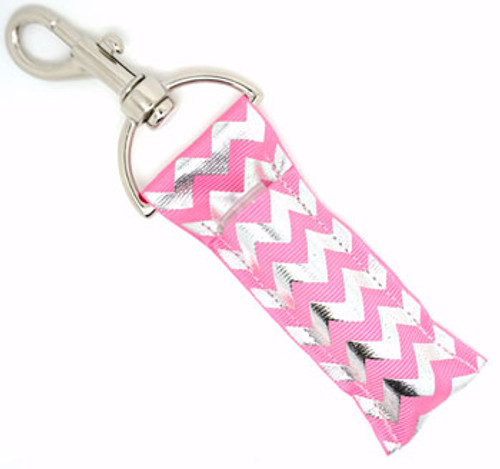 Pink and Silver Foil Chevron   This lip balms holder is very durable with a stainless steel hook that is easily attached and unattached to a purse, keys, backpack, or lanyard.