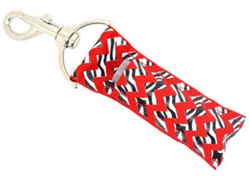 Red and Zebra Chevron with Glitter Lip Balm Holder   Each Lip Balm / Chapstick Holder is HANDMADE with a high-quality material! Our unique design's and clasp offer both style and functionality. The hook is also on a swivel head so the lip balm always falls back down and never gets stuck upside down, this is where most lip balm holders loose your lip balm or chapstick! The holder is designed to snuggly fit any standard chapstick or lip balm. This ensures that the lip balm / chapstick won't fall out when needed most.