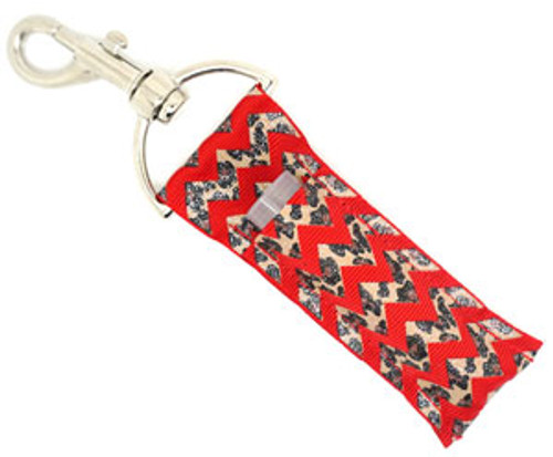 Red and Cheetah Chevron with Glitter Lip Balm Holder  Each Lip Balm / Chapstick Holder is HANDMADE with a high-quality material! Our unique design's and clasp offer both style and functionality. The hook is also on a swivel head so the lip balm always falls back down and never gets stuck upside down, this is where most lip balm holders loose your lip balm or chapstick! The holder is designed to snuggly fit any standard chapstick or lip balm. This ensures that the lip balm / chapstick won't fall out when needed most.