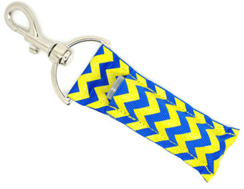Royal Blue and Yellow with Glitter Chevron    This lip balms holder is very durable with a stainless steel hook that is easily attached and unattached to a purse, keys, backpack, or lanyard.