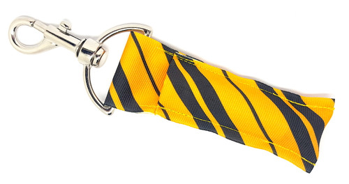 Lip balm holder Black and Yellow Candy Striped   Each Lip Balm / Chapstick Holder is HANDMADE with a high-quality material! Our unique design's and clasp offer both style and functionality. The hook is also on a swivel head so the lip balm always falls back down and never gets stuck upside down, this is where most lip balm holders lose your lip balm or chapstick! The holder is designed to snuggly fit any standard chapstick or lip balm. This ensures that the lip balm / chapstick won't fall out when needed most.   BENEFITS: Misplacing or Losing your chapstick is the worst!! Don't let that happen again and buy the perfect solution! Our Lip Balm / Chapstick Holder Keychain will make sure you always have your Gettin Lippy lip balm at hand when desperately needed. Our cute fun designs will compliment anything. Attach it to your keys, lanyard, back-pack, bag, purse, or anywhere your little heart desires with our easy open clasp!  PERFECT GIFTS: A simple gift can go a long way. Everyone needs something cute and functional. Buy now for stocking stuffers, birthday party, a team gift or for a daughter, friend, wife, girlfriend, colleague, student, teacher, etc!  BUY WITH CONFIDENCE: Read the reviews! Our Gettin Lippy Lip balm holders are the number one rated lip balm holders on the market! If you don't LOVE our product, we offer 100% Money Back GUARANTEE no questions asked.  PACKAGE INCLUDES:  1 Unique Lip Balm / Chapstick holder. Each Holder is 6.5 inches (with hook) x 1.5 inches. **NOTE: Gettin Lippy lip balms in pictures are not included but click on the link below and get the best multi-flavored lip balm on the market:   https://gettinlippy.com/gettin-lippyoriginal-line/     HANDMADE IN THE USA!!