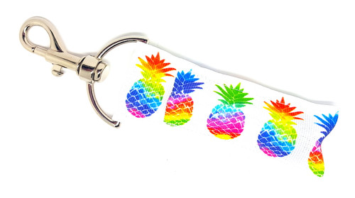 Lip Balm Holder White and Multicolored Pineapples  Each Lip Balm / Chapstick Holder is HANDMADE with a high-quality material! Our unique design's and clasp offer both style and functionality. The hook is also on a swivel head so the lip balm always falls back down and never gets stuck upside down, this is where most lip balm holders lose your lip balm or chapstick! The holder is designed to snuggly fit nice and cozy any standard chapstick or lip balm. This ensures that the lip balm / chapstick won't fall out when needed most.  BENEFITS: Misplacing or Losing your chapstick is the worst!! Don't let that happen again and buy the perfect solution! Our Lip Balm / Chapstick Holder Keychain will make sure you always have your Gettin Lippy lip balm at hand when desperately needed. Our cute fun designs will compliment anything. Attach it to your keys, lanyard, back-pack, bag, purse, or anywhere your little heart desires with our easy open clasp!   PERFECT GIFTS: A simple gift can go a long way. Everyone needs something cute and functional. Buy now for stocking stuffers, birthday party, a team gift or for a daughter, friend, wife, girlfriend, colleague, student, teacher, etc!  BUY WITH CONFIDENCE: Read the reviews! Our Gettin Lippy Lip balm holders are the number one rated lip balm holders on the market! If you don't LOVE our product, we offer 100% Money Back GUARANTEE no questions asked.   PACKAGE INCLUDES:  1 Unique Lip Balm / Chapstick holder. Each Holder is 6.5 inches (with hook) x 1.5 inches. **NOTE: Gettin Lippy lip balms in pictures are not included but click on the link below and get the best multi-flavored lip balm on the market:   https://gettinlippy.com/gettin-lippyoriginal-line/    MADE IN THE USA!!