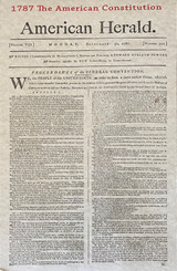 Collector's Edition Facsimile of Front Page of American Herald Newspaper September 30, 1787