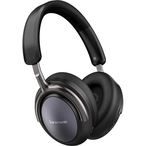Saramonic Advanced Wireless Bluetooth 5.0 ANC and CVC 8.0 Noise-Cancelling Over-Ear Headphones with 40mm Drivers and Leather Earpads (SR-BH900), Black