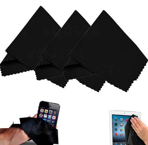 (3 Pack) Microfiber Cleaning Cloths - For Tablet, Cell Phone, Laptop, LCD TV Screens and Any Other Delicate Surface 3 Black