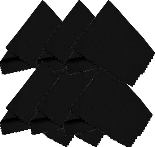 (6 Pack) Microfiber Cleaning Cloths - For Tablet, Cell Phone, Laptop, LCD TV Screens and Any Other Delicate Surface  Black