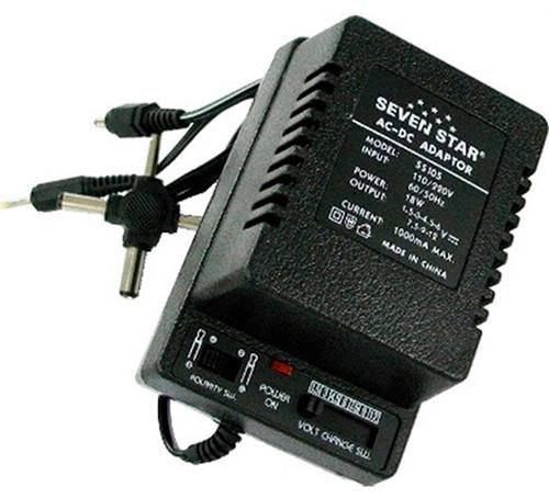 Seven Star 1.5V, 3V, 4.5V, 6V, 7.5V, 9V, 12V DC, 1000mA Regulated Universal AC to DC Converter with Multiple Connector Ends