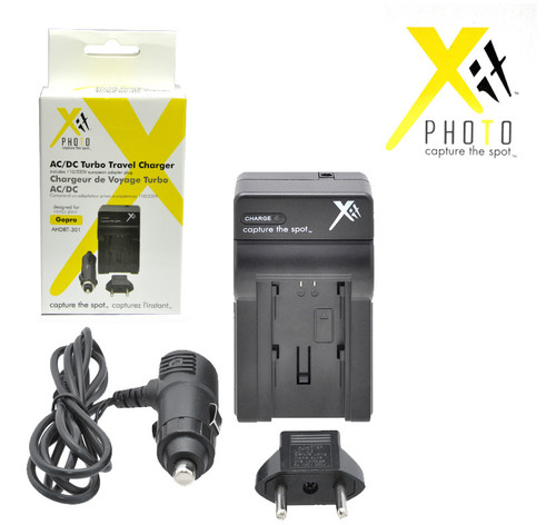 Xit XTCHGPH3 AC/DC Turbo Travel Battery Charger for GoPro AHDBT-301