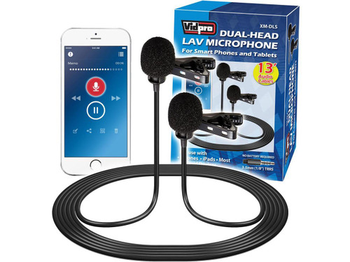 Vidpro XM-DLS Dual-Head Interview Lavalier Microphone for Smartphones & Tablets