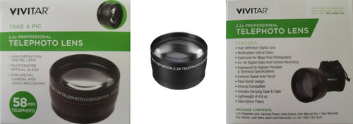 VIVITAR 2.2X 58MM Telephoto Lens Black VIV58T
