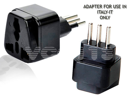 Seven Star Adapter For ITALIAN Plug SS418-S BLACK