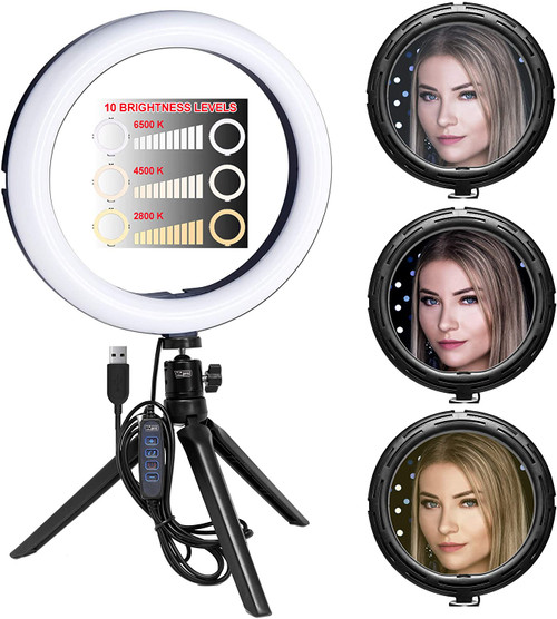 """Vidpro RL-10 10"""" Inch LED Ring Light Kit with Mini Tripod and Ball Head. USB Powered for Portraits, Makeup, Modelling, Vloggers, Macro Photos and YouTube. Variable Color Temperature 2800K 4500K 6500K"""