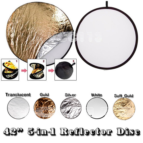 """42"""" 107cm 5 in 1 Photo Round Studio Collapsible Reflector Light Diffuser Kit Set"""