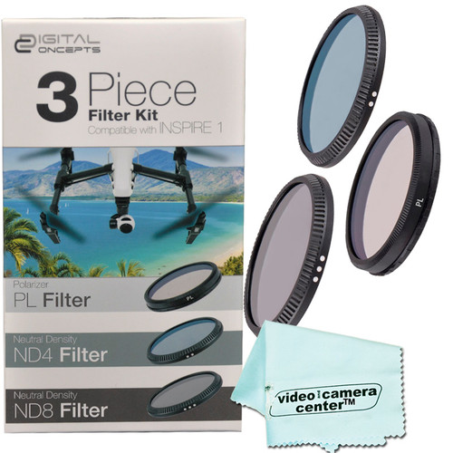 Digital Concepts 3 Pieces Filter Kit CPL+ND4+ND8 For INSPIRE 1 Quadcopter + VCC113 Microfiber Cleaning Cloth