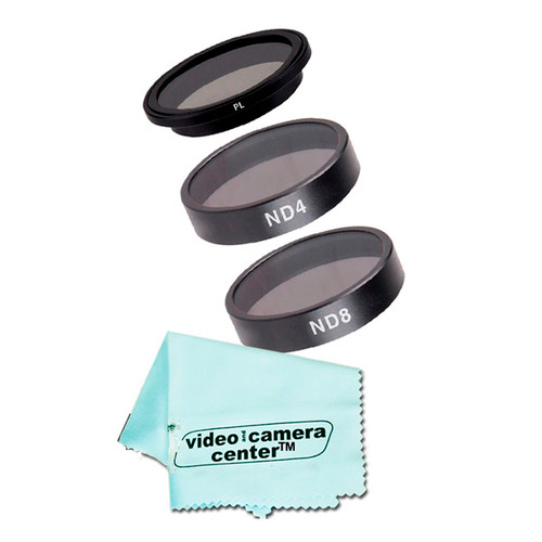 Vivitar 3 Pieces Filter Kit CPL+ND4+ND8 For DJI PHANTOM 3 +  VCC113 Microfiber Cleaning Cloth