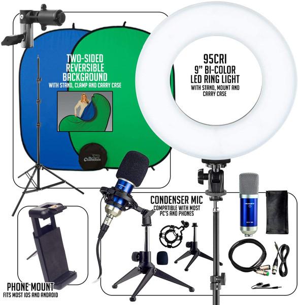 Smith-Victor Basic Smartphone/Ring-Light Desktop Work-from-Home AV Kit