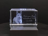 Beautiful pet memorial in 3D crystal