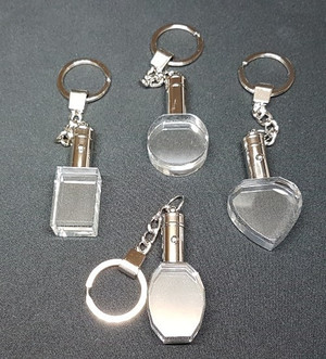 A selection of crystal keyrings in five different shapes.  These make wonderful and inexpensive gifts.