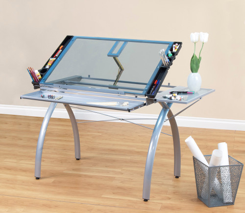 Studio Designs Futura Craft Station with Folding Shelf / Silver / Blue Glass