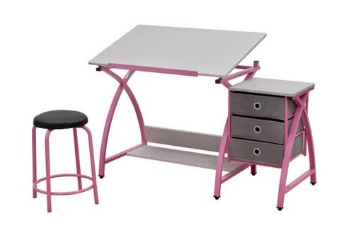 Studio Designs Comet Center with Stool / Pink / Spatter Gray