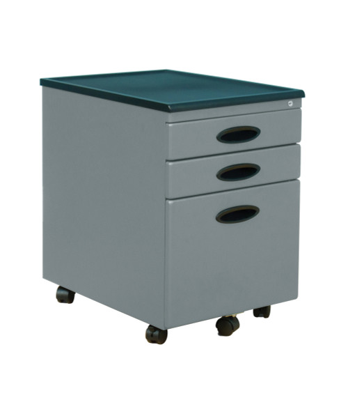 FILE CABINET SILVER / BLACK-DOUBLED