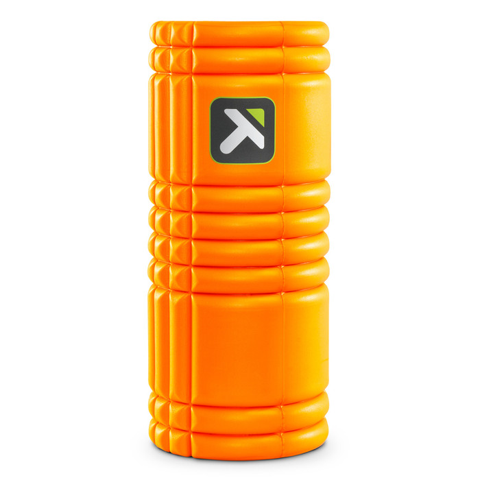 GRID Foam Roller Orange standing vertically on white background.