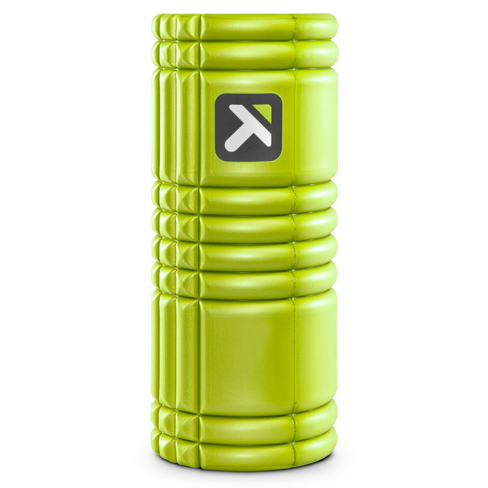 GRID Foam Roller Lime standing vertically on a white background