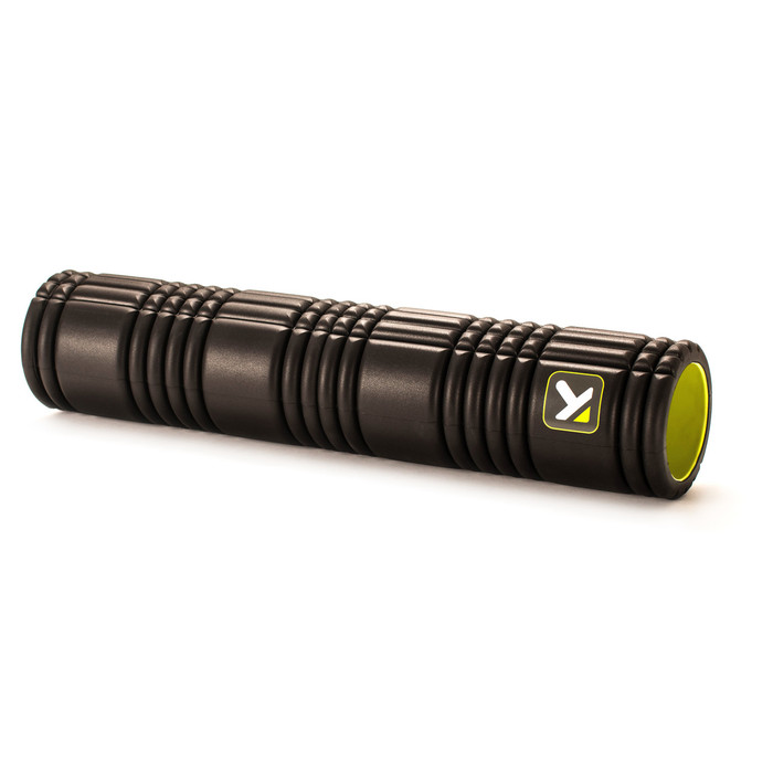 GRID 2.0 Foam Roller Black sitting horizontally on a white background.