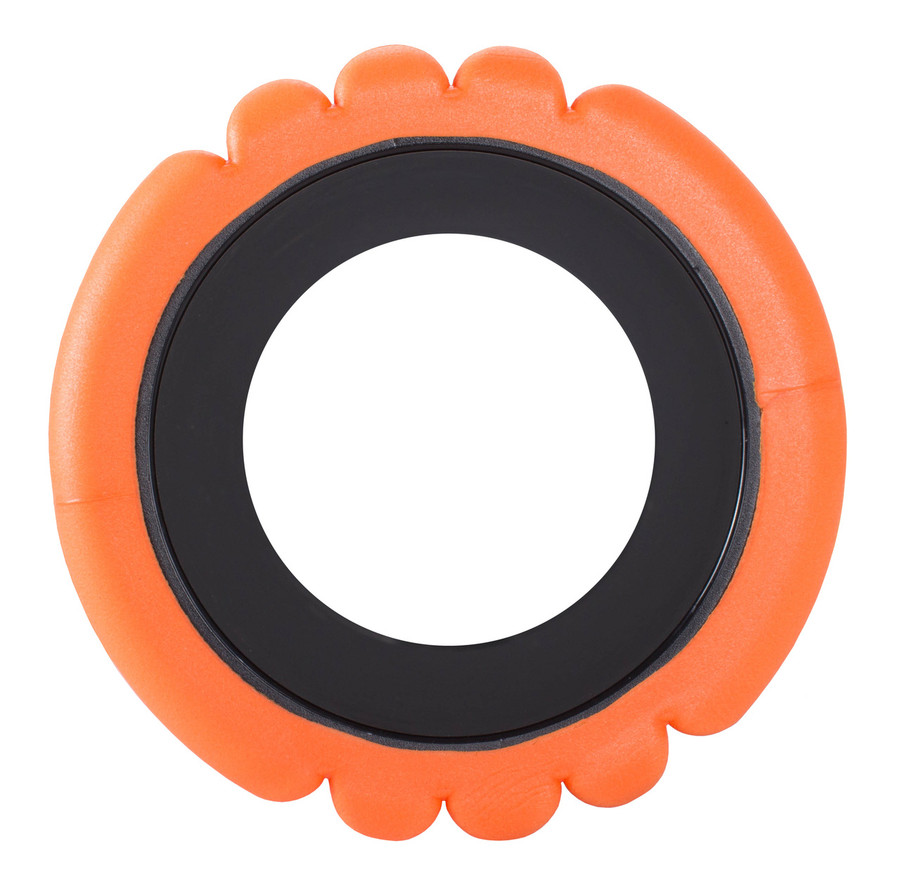 Top view of GRID Foam Roller Orange showing density and thickness.