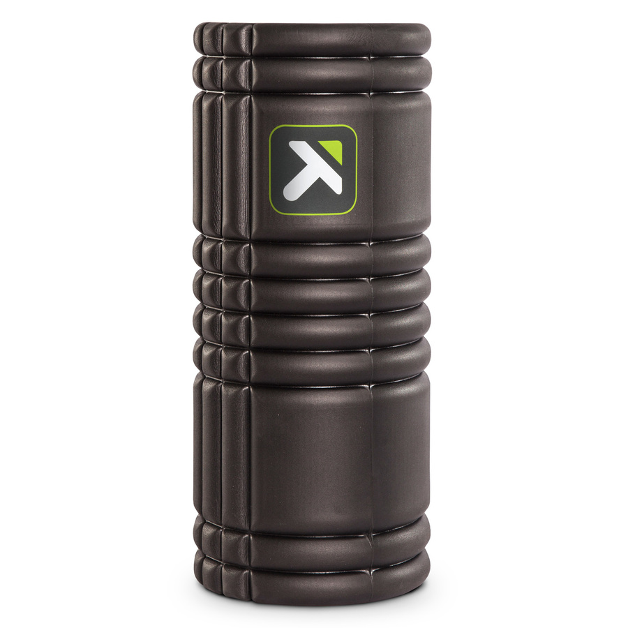GRID Foam Roller Black standing vertically on a white background.