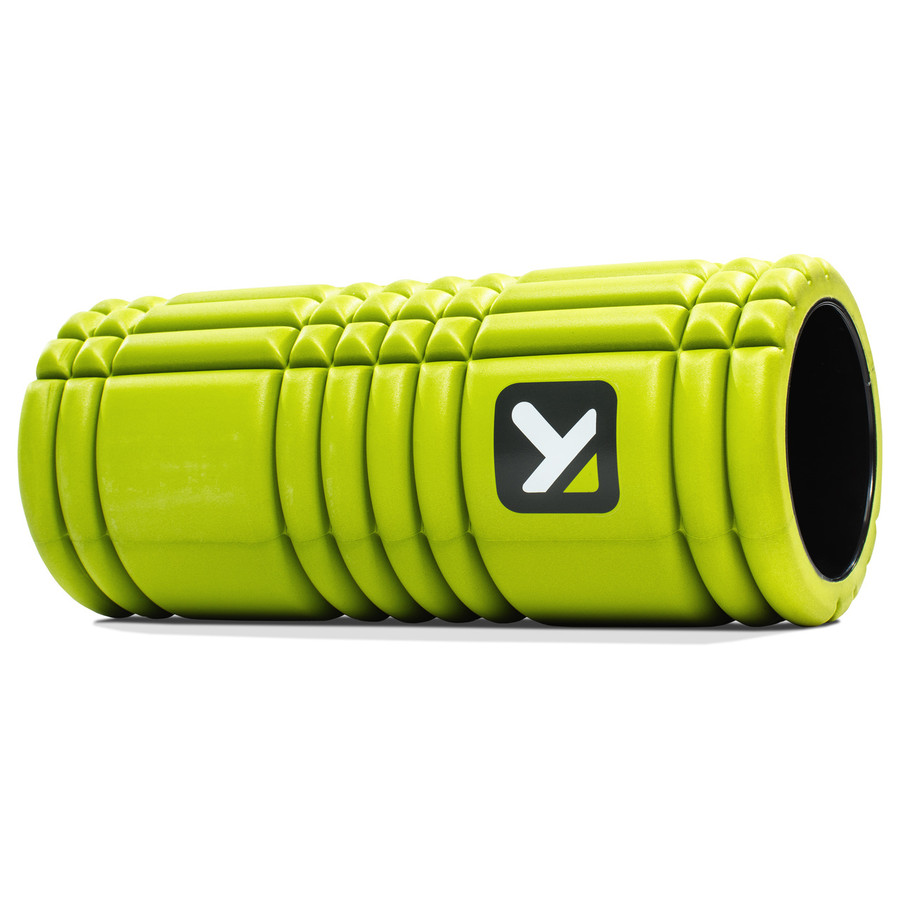 GRID Foam Roller Lime sitting horizontally on a white background.