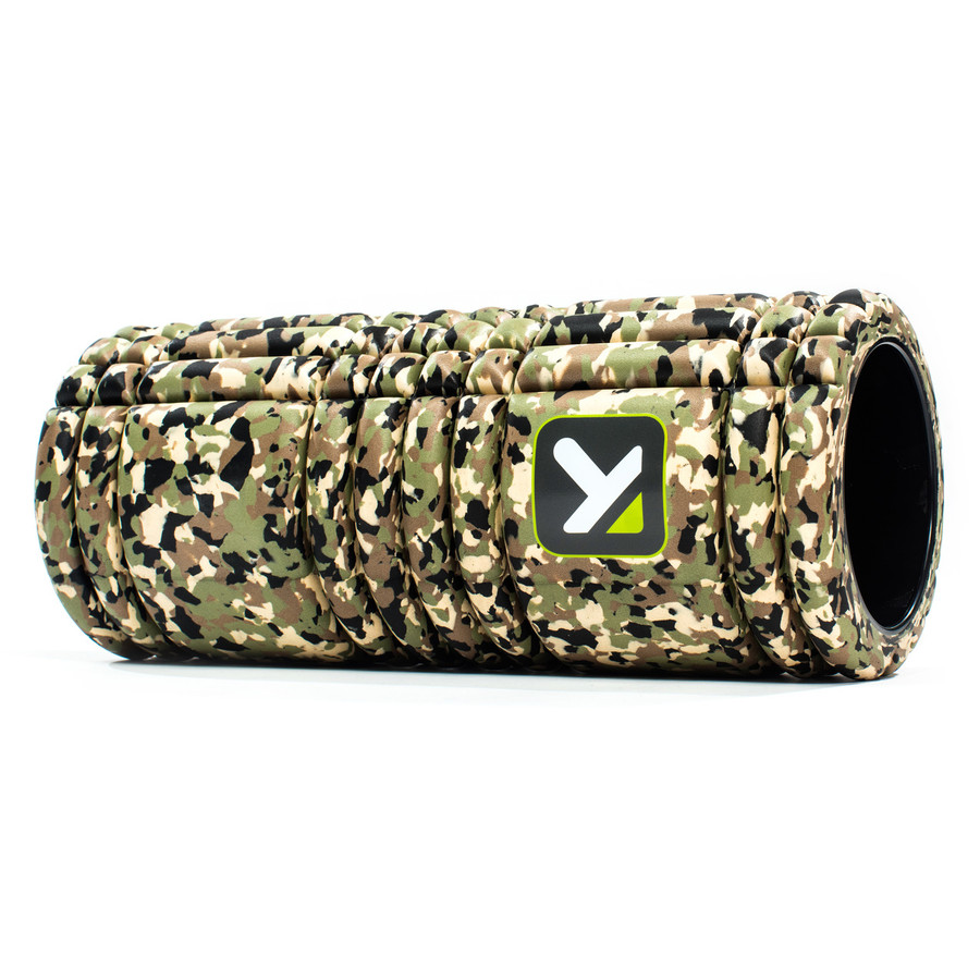 GRID Foam Roller Camo sitting horizontally on a white background.