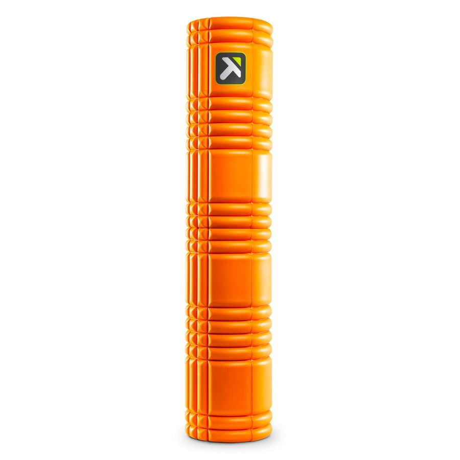 GRID 2.0 Foam Roller Orange standing vertically on a white background