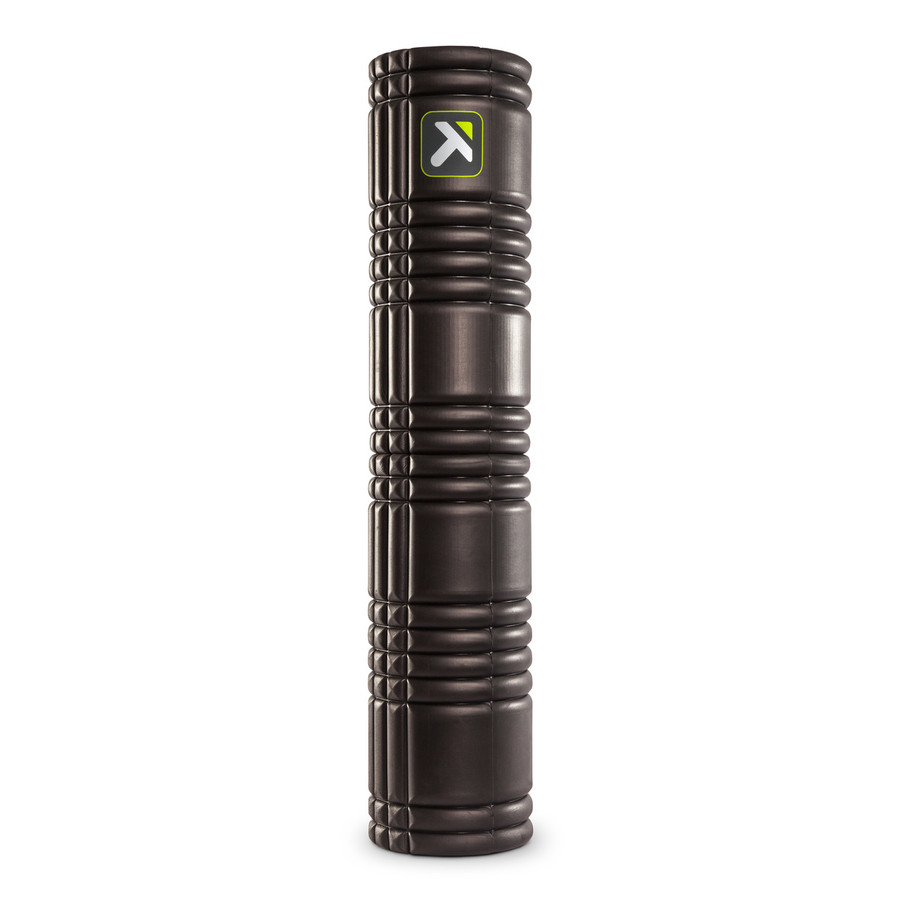 GRID 2.0 Foam Roller Black standing vertically on a white background.