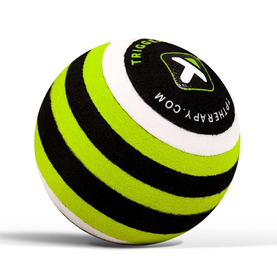 MB1 Massage Ball sitting on white background, showing stripes.
