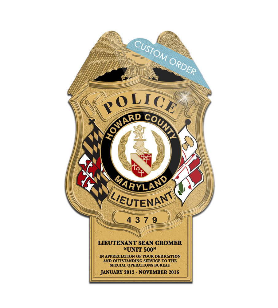 Badge Plaque with a Personalized Tab at the bottom for Law Enforcement.