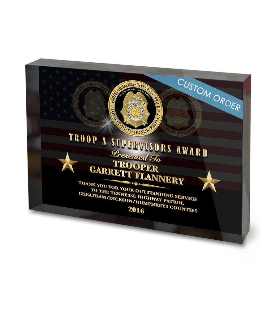 Recognition Acrylic Award Block for Law Enforcement, Police and Sheriff's Departments.