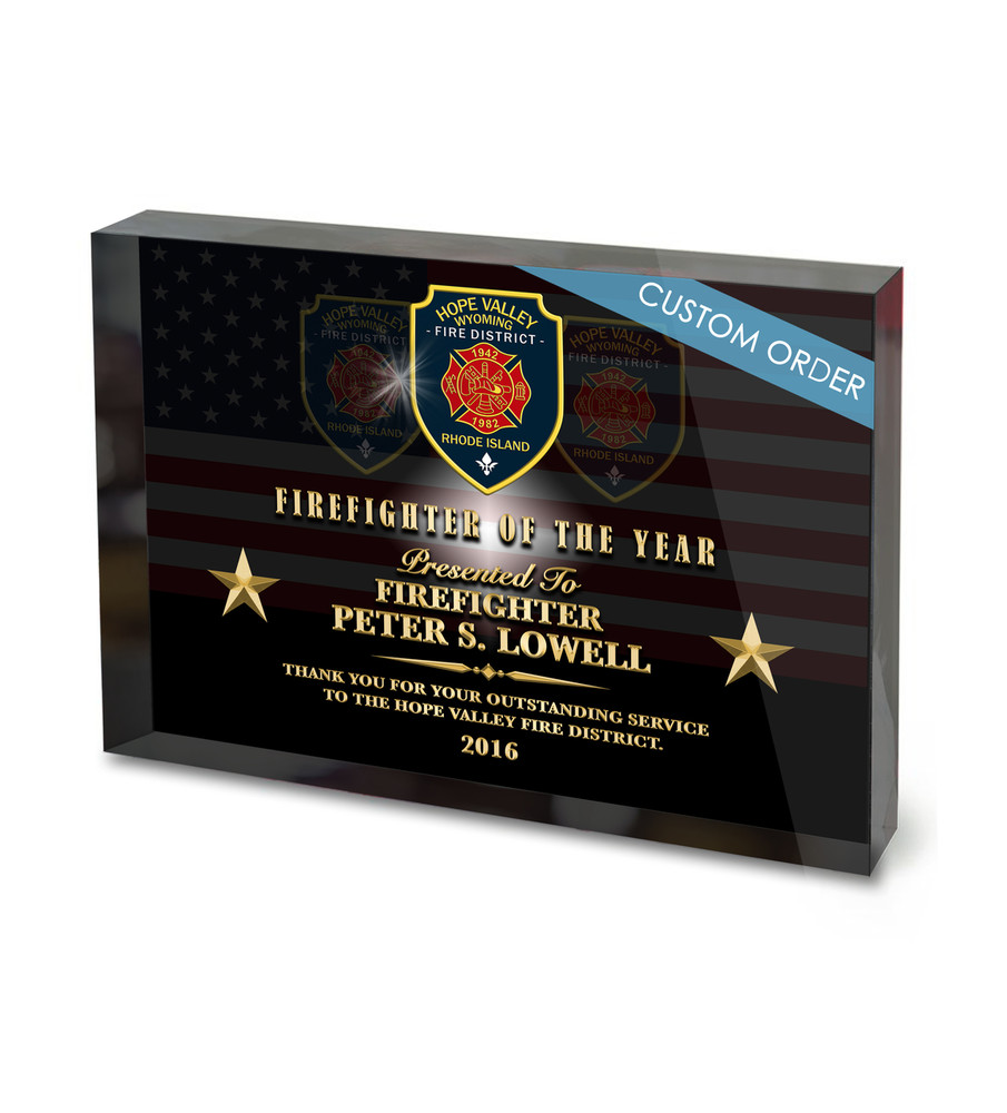 Fire Department Recognition Acrylic Award Block Plaque, Full Color, Logo, Patch, Badge, Seal.