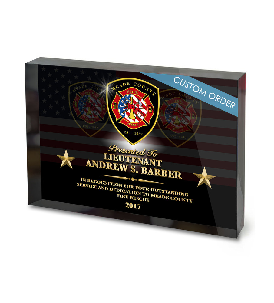 Fire Department Retirement Acrylic Award Block Plaque, Full Color, Logo, Patch, Badge, Seal.