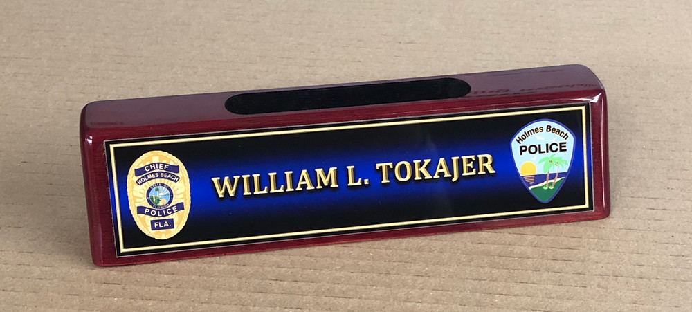 Rosewood Business Card Holder Name Plate