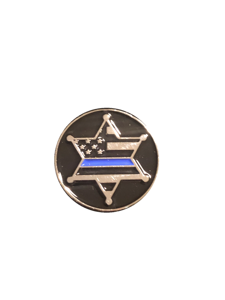 Awesome FULL COLOR 6 Point Star with Thin Blue Line enamel logo