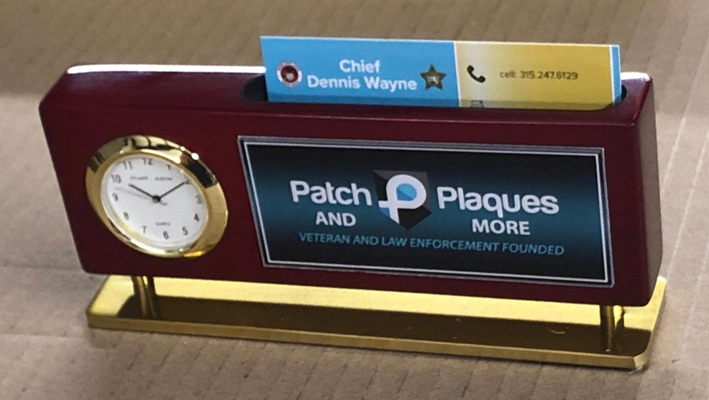 Business Card Holder Clock Name Plate