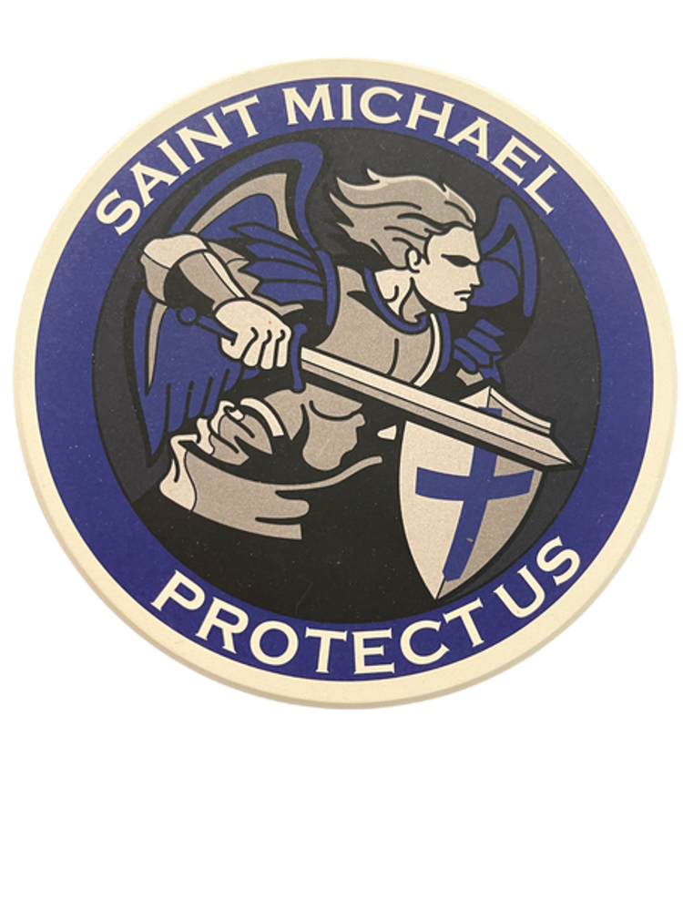 SAINT MICHAEL PROTECT US Round Absorbent Stone Coaster