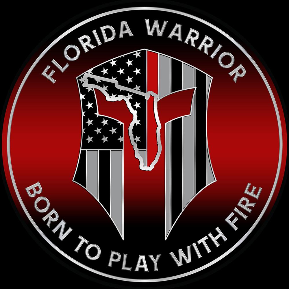 """5"""" FLORIDA WARRIOR RED LINE FIRE PLAQUE"""