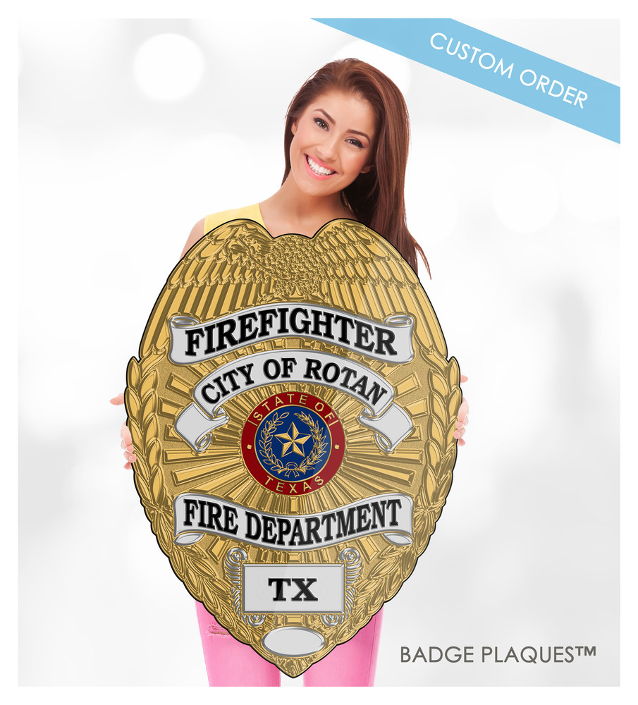 Firefighter, Fire Rescue, Fire Department Badge Plaque, Wood and Acrylic Custom Wall Plaque Sign | Badge Plaques