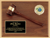 American Walnut Plaque with Walnut Gavel and Custom FULL COLOR plate (no boring engraving) and custom 2'' circle insert.