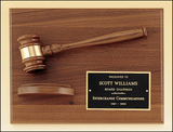 Gavel with Sounding Block on Walnut Plaque