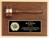 Gavel on Walnut Plaque